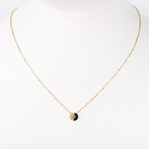 UE- Gold Tone & Jet Black Designer Pendant Necklace With Swarovski Style... - $14.99