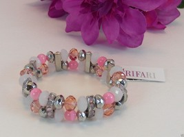 Trifari Enchanted Pink Silvertone Beaded Evening Stretch Bracelet New Wi... - $11.99