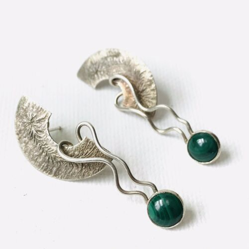 Primary image for Vintage Malachite Sterling Silver Artisan Handcrafted Post Earrings Modernist