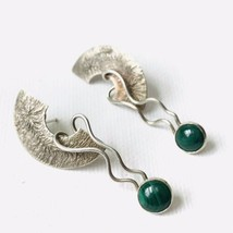 Vintage Malachite Sterling Silver Artisan Handcrafted Post Earrings Modernist - $79.20
