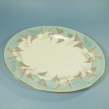 "Vtg. Wedgwood Buxton 13 3/4"" Oval Serving Platter ~ Turquoise with gold ... - $56.42"