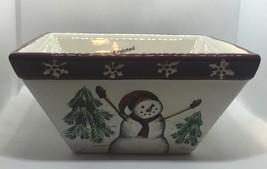 "St. Nicholas Square Yuletide 6"" Square Bowl Christmas Snowman Snowmen - $9.89"