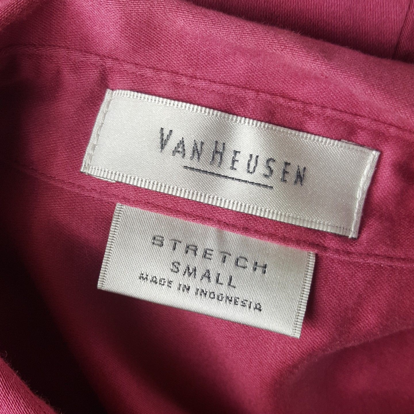 Van Heusen Womens Size Small Stretch Pink Button Up Cap Sleeve Career Blouse EUC