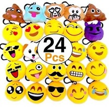 OHill 24 Pack Emoji Plush Pillows Mini Keychain For Birthday Party, Hom... - $25.28