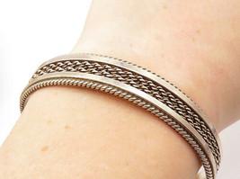TAHE NAVAJO 925 Silver - Vintage Rope Twist Designed Oval Cuff Bracelet ... - $79.48