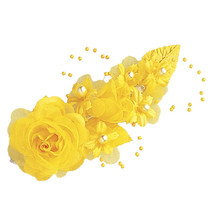 """3 dark yellow Silk Pearl & organza flower  Corsages 5""""x 2.5 with pearl pin - $6.68"""