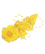 "3 dark yellow Silk Pearl & organza flower  Corsages 5""x 2.5 with pearl pin - $6.68"