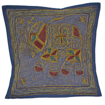 Navy Blue Elephant Cushion Covers 40cm INDIEN Handmade Cotton Colour Emb... - £3.00 GBP