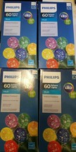 Lot of 4 Philips 60 LED Multi-Color Faceted Sphere String Lights Indoor/... - $39.59