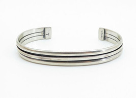 NAVAJO 925 Silver - Vintage Ribbed Design Shiny Smooth Cuff Bracelet - B6104 image 2