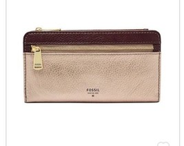 NWT Fossil Women's Preston Clutch Leather Wallet Taupe Metallic - $48.37