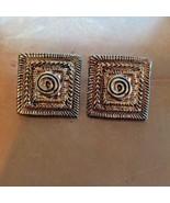 Vintage Jewelry Modernist Earrings Mid Century Modern Gold Costume Pierc... - $17.00