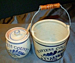 Daviess County Westerwald Stoneware Honey Pot Lid Stir Stick & Bowl with handle image 2