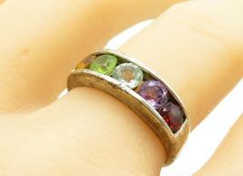 925 Sterling Silver - Vintage Multi-Gemstone Rainbow Band Ring Sz 9 - R1... - $26.34