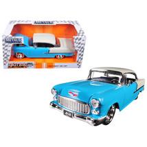 1955 Chevrolet Bel Air Blue Bigtime Muscle 1/24 Diecast Model Car by Jad... - $34.69