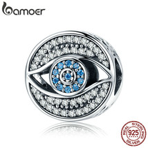 Authentic 925 Sterling Silver Lucky Blue Eye Clear CZ Guarding Charm - $28.99