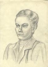 E. Gaston Longney - Mid 20th Century Graphite Drawing, Woman in Jacket - $20.18