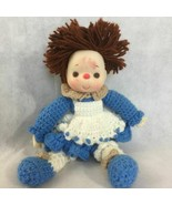 Ice Cream Face Baby Doll Hand Crochet Dress Brown Yarn Hair Plush - $22.86