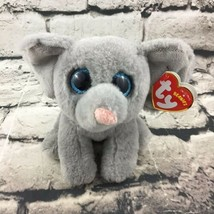 Ty Beanie Boos Whopper Plush Elephant Gray Stuffed Animal Cute Big Eyes ... - $7.91