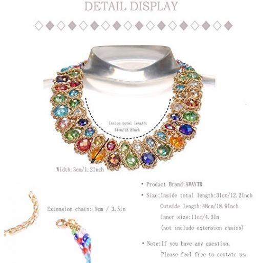 Ladies Choker Necklace Gold Tone Fashion Statement Big Multi Color