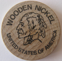 "Wooden Nickel From: ""The Big Bonanza"" Virginia City, Nv. - (sku#4979) - $9.99"