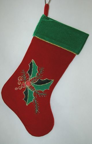 Sterling Red Christmas Stocking 3 Leaf Holly Berry Design Gold Rope Accent