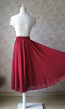 Women Burgundy Chiffon Skirt Burgundy Chiffon Midi Skirt Beach Skirt Plus Size image 2