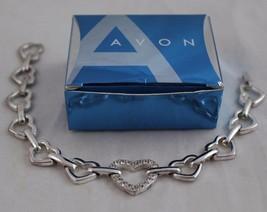 AVON Silver Tone RHINESTONE ACCENTED LINKED HEARTS Bracelet  - $7.99