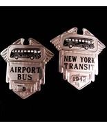 Vintage New York Badge Lot - New York Transit 1942 - Airport bus 8 - Orb... - $95.00