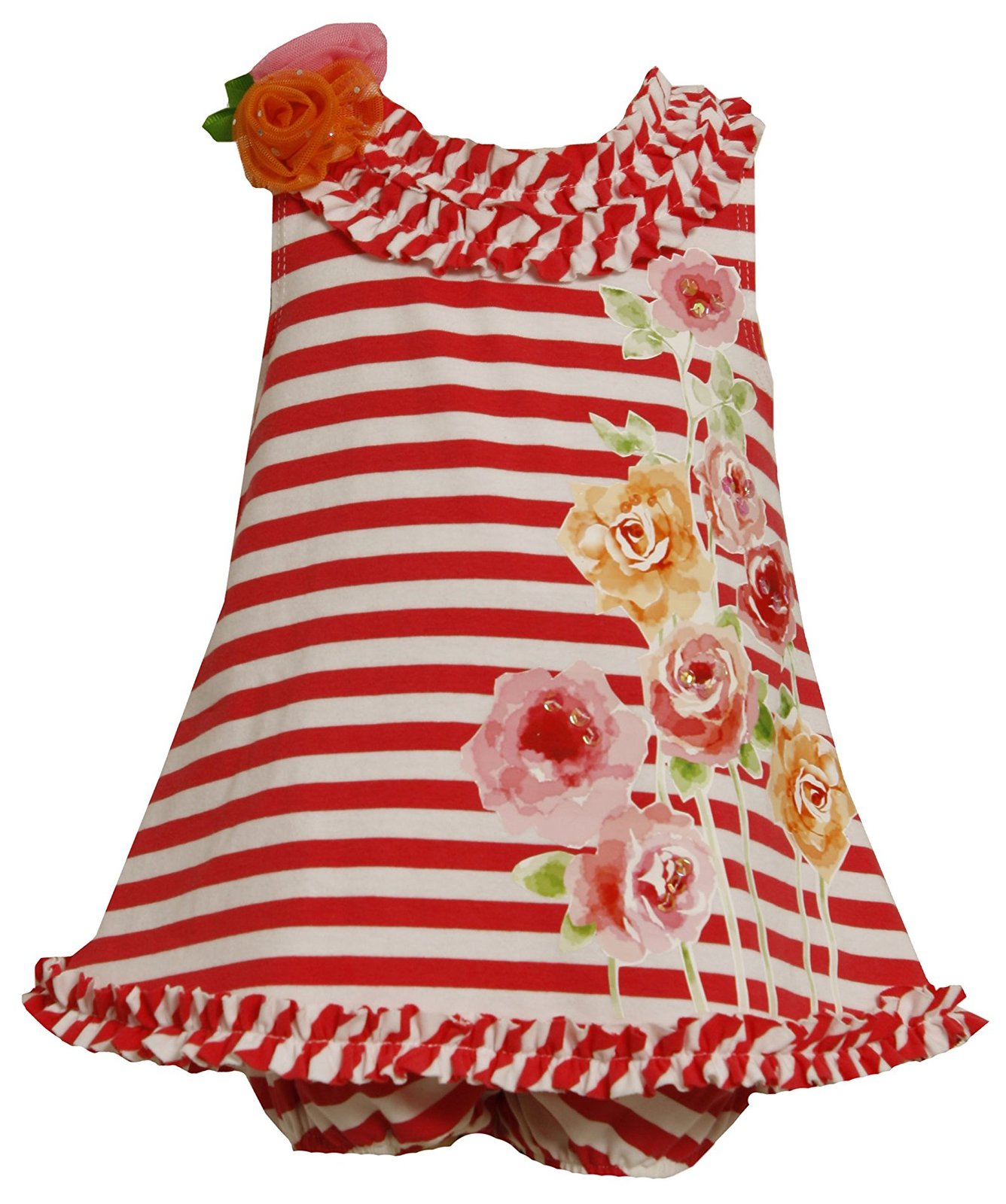 Bonnie Jean Baby Girl 3M-9M Striped Knit Sequin Rose Screen Print A-line Dress