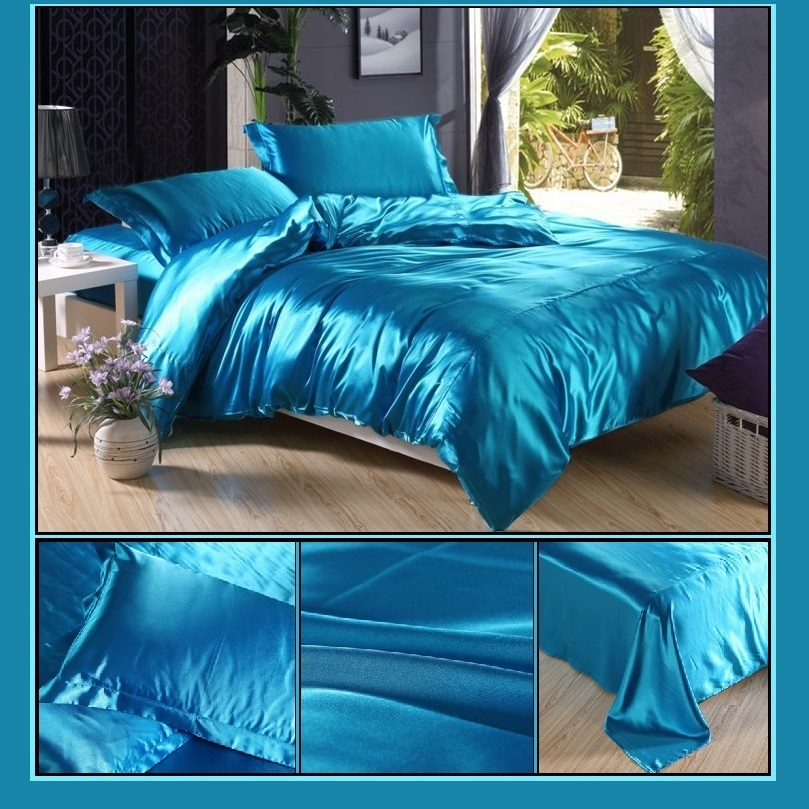 Luxury Teal Mulberry Silk Satin Top Sheet Duvet w/ 2 Pillow Cases 4 Pc Bedding