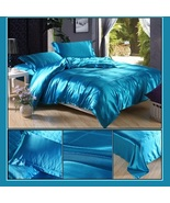 Luxury Teal Mulberry Silk Satin Top Sheet Duvet w/ 2 Pillow Cases 4 Pc B... - $44.95+