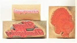 Set of 3 Thanksgiving-Themed Rubber Stamps Mounted on Wood image 2
