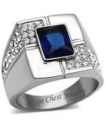 HCJ Stainless Steel Rectangular Blue Sapphire CZ Men's Ring SIZE 8-13 - $15.29