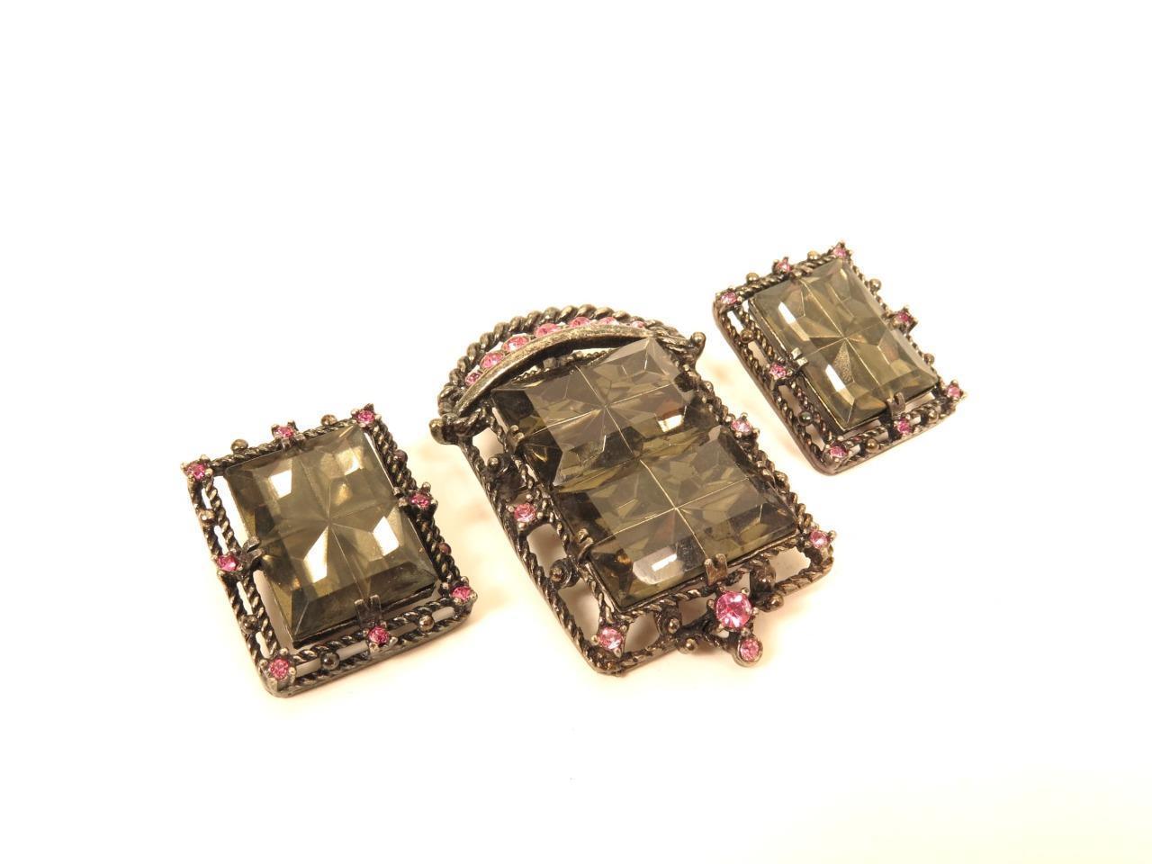 "1957 Sarah Coventry ""Midnight Magic"" Rhinestone Pendant/Pin & Earrings Set*F342"