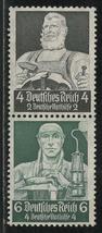 1934 Blacksmith and Miner Strip of 2 Germany Postage Stamps Catalog Mi S219 MNH