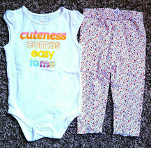 Girl's Size 18 M 12-18 Month 2 Pc Cute Comes Easy To Me Top & Gymbree Leggings - $16.00