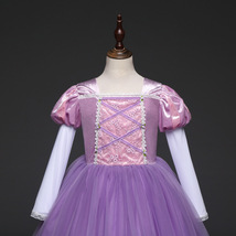 Short Sleeve Sexy Purple Tulle Pricess Wedding Flower Girls Dresses Party Gowns  image 6