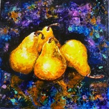 "Akimova: SWEET PEARS, food, still life, wax painting, 12""x12"" - $27.00"