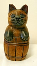 Vintage Weid Cheezy Wooden Cat in a Barrel Figurine - $6.05
