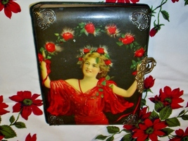Antique Celluloid Photo Book Victorian Lady with Red Roses Fabulous Grea... - $365.00