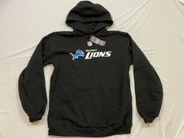 M67 New REEBOK Detroit Lions Black Embroidered Hooded Sweatshirt MENS M ... - $19.75
