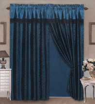 4 Pieces Satin Blue/Black Flocking Leopard Pattern Window Curtain Drape Set - $30.74