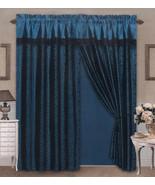 4 Pieces Satin Blue/Black Flocking Leopard Pattern Window Curtain Drape Set - $30.74