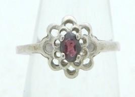VTG .925 Sterling Silver Purple Flower Rhinestone Ring Size 5.5 - $29.70