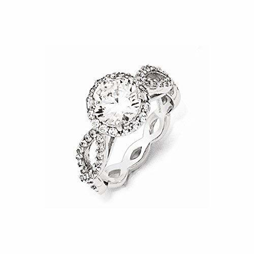 Primary image for Sterling Silver CZ Round Twisted Ring , Size: 8