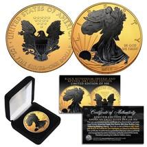 2019 1 oz .999 Silver American Eagle US Coin 24K Gold Gilded w/ Black Ru... - $65.41