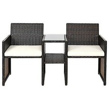 Rattan Sofa Set 2-Seat Linked Table Patio Cushioned Armrest Zip-Off Cove... - $130.62