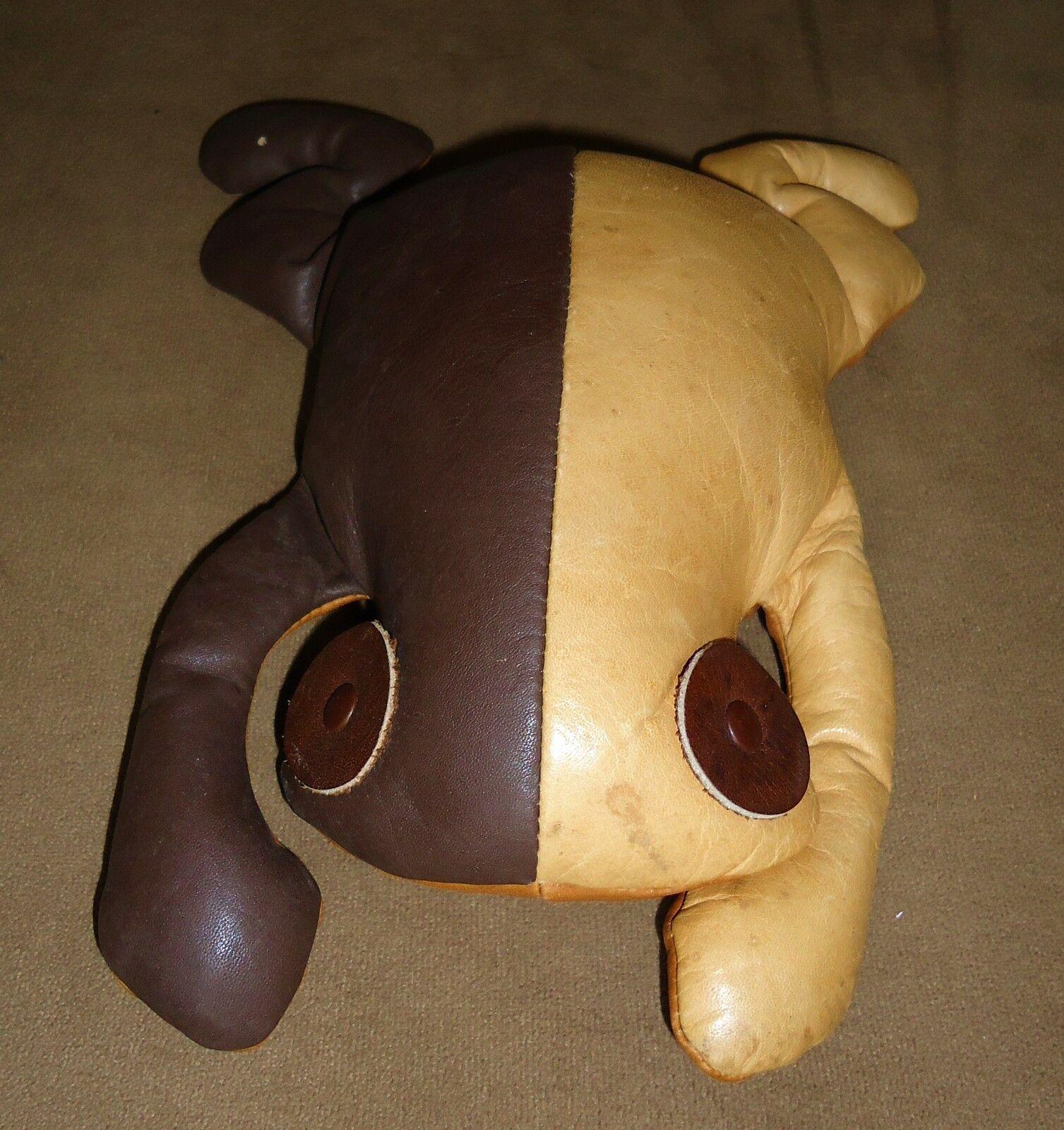MUNDI Leather Frog Animal Reptile Plush DecorHand Crafted BRAZIL VTG ESTATE RARE