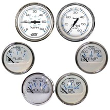 Faria Chesapeake White w/Stainless Steel Bezel Boxed Set of 6 - Speed, Tach, Fue - $372.00